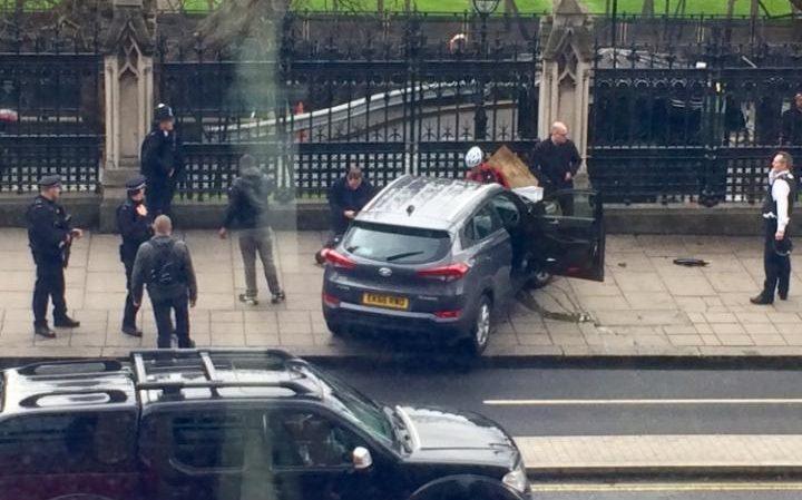 The Hyundai crashed into railings