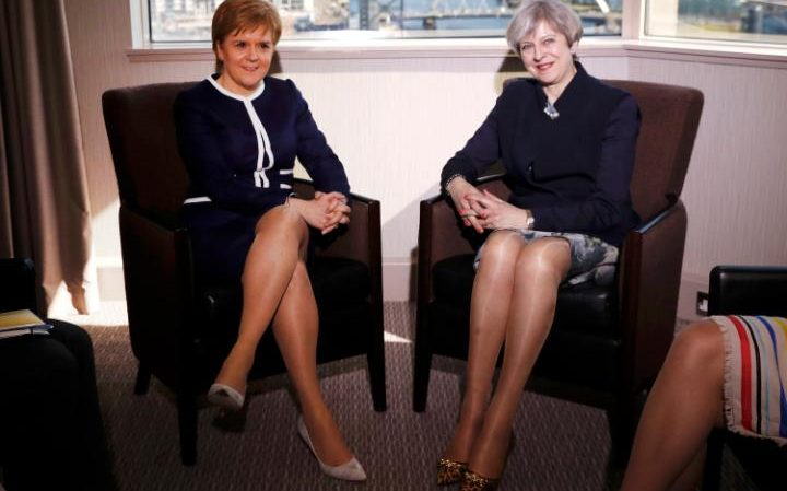 Britain's Prime Minister Theresa May and Scotland's First Minister Nicola Sturgeon