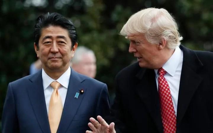 Shinzo Abe met Donald Trump last month in the US