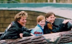 Prince William, Prince Harry and Diana, Princess of Wales photographed at Thorpe Park in 1993