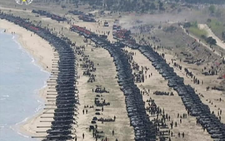 "This image made from video of a still image broadcast in a news bulletin by North Korea's KRT on Wednesday, April 26, 2017, shows what was said to be a ""Combined Fire Demonstration"" held to celebrate the 85th anniversary of the North Korean army, in Wonsan, North Korea"