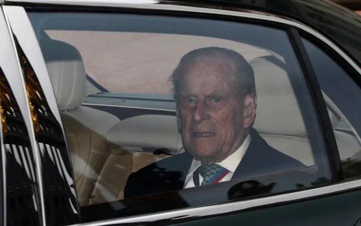 Britain's Prince Philip leaves Buckingham Palace
