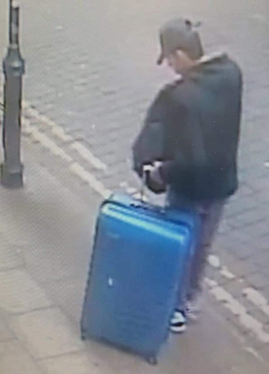 Salman Abedi carrying a distinctive blue suitcase in Manchester city centre before he carried out the Manchester Arena terror attack