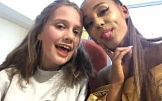 Ariana Grande meets a fan at the Royal Manchester Children's Hospital