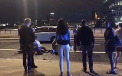 The scene on London Bridge in the immediate aftermath of the attack