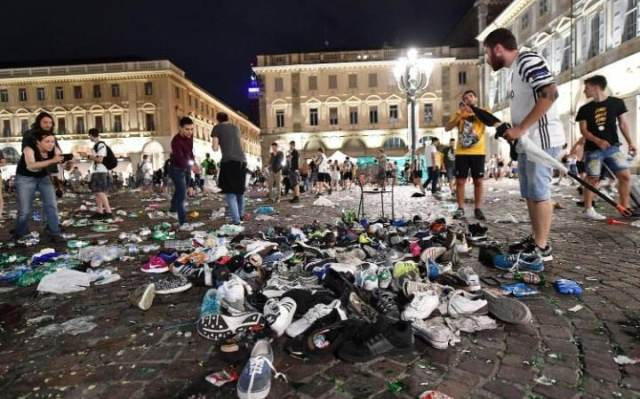 Carlo's Square in Turin which was abandoned when football fans watching the UEFA Champions League final soccer match between Juventus and Real Madrid, fled the area in panic