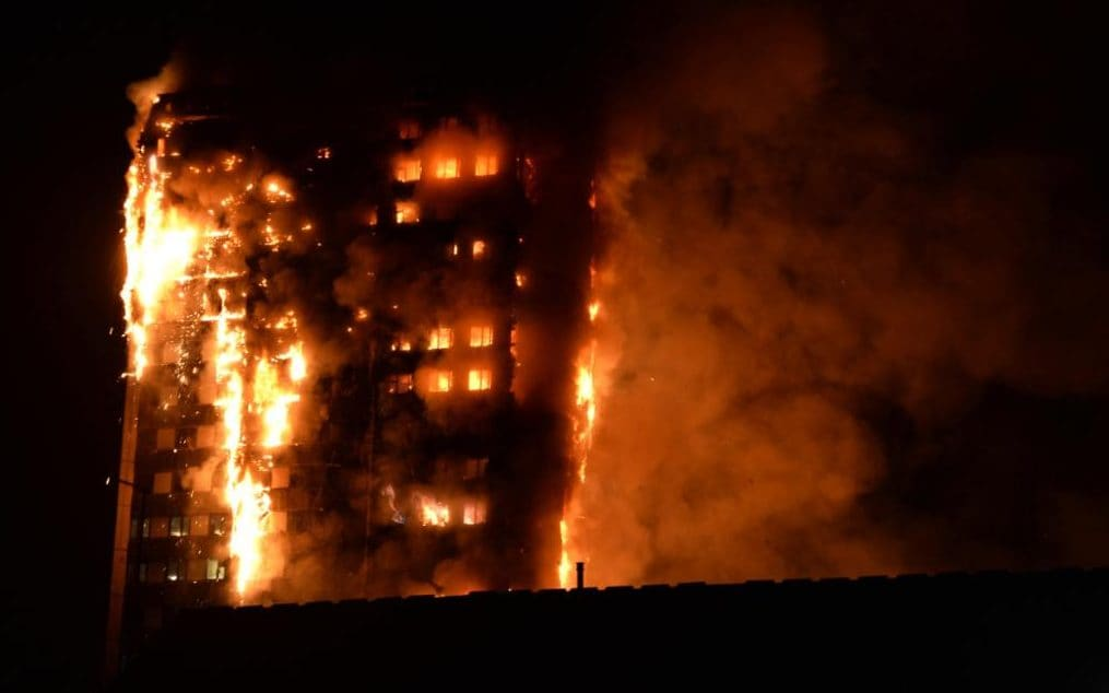 Flames engulf the block