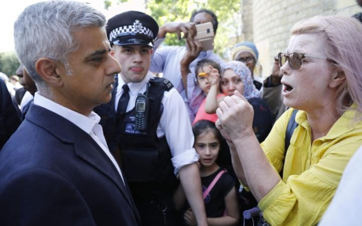 Mayor of London Sadiq Khan meets residents while visiting Grenfell Tower,