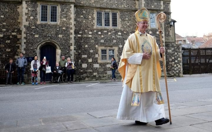 The Archbishop of Canterbury Justin Welby processes to Canterbury Cathedral to deliver his Easter sermon