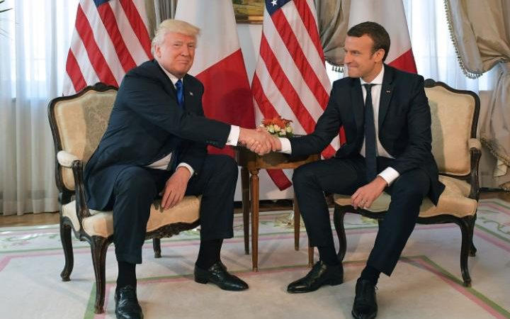 US President Donald Trump and French President Emmanuel Macron's white-knuckle handshake became infamous