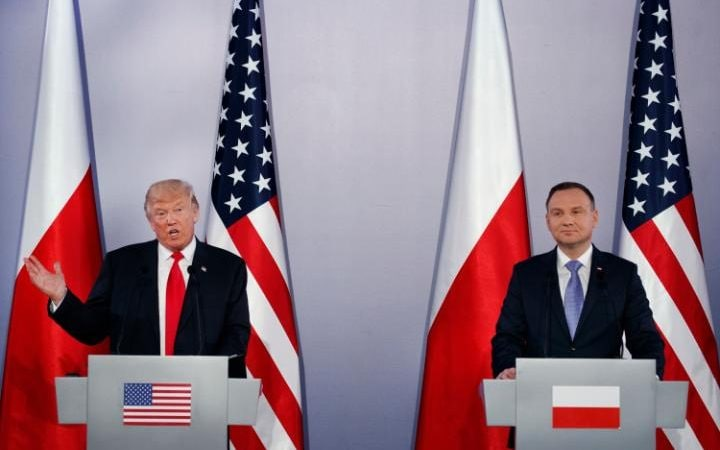 The US and Polish presidents give a joint press conference