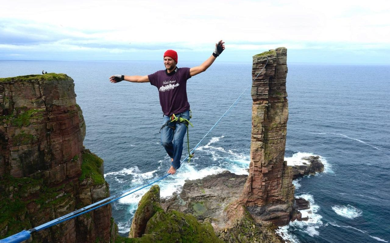 Daredevil Completes First High Wire Walk To Top Of Orkney