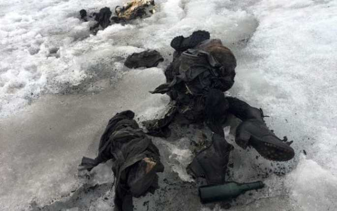 The mummified remains of a Swiss Couple (Marcelin and Francine Dumoulin) who went missing 75 years ago and who were found in a glacier in the Diablerets mountains, in southern Switzerland. The perfectly preserved bodies lay close to each other, with at their side backpacks, a bottle, a book and a watch.