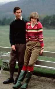Prince Charles with his then fiance Lady Diana Spencer before their wedding, while staying at Craigowan Lodge on the  Balmoral Estate
