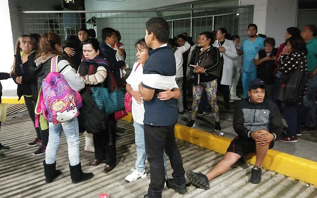 Patients and doctors of a hospital of Mexico City wait outside after the earthquake