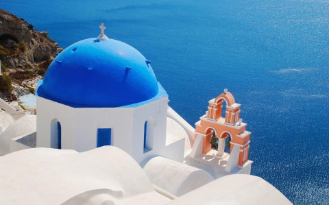 A church on Santorini, Greece, had its crosses airbrushed out for a range of Greek products sold by Lidl