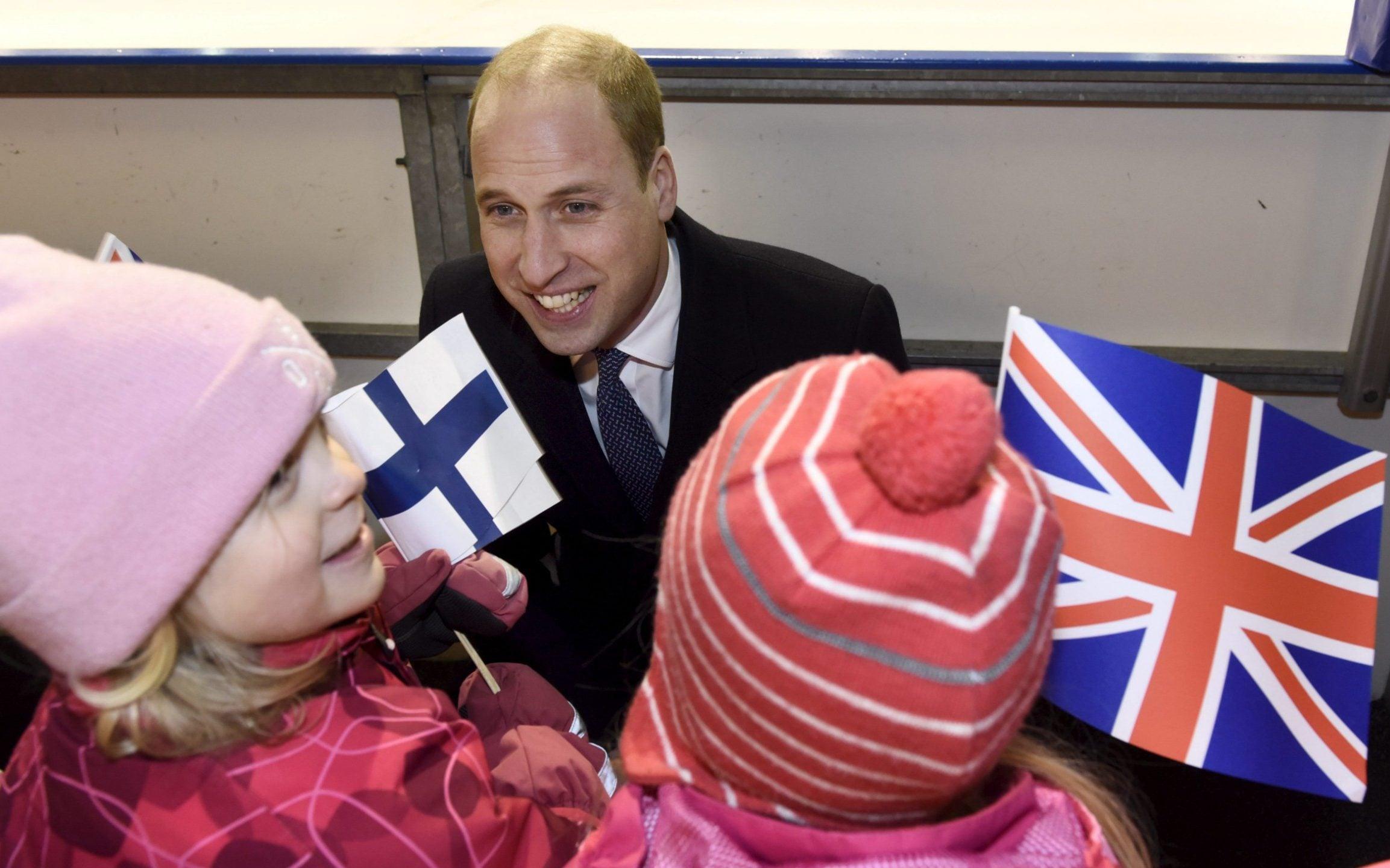 Prince William meets children in Finland