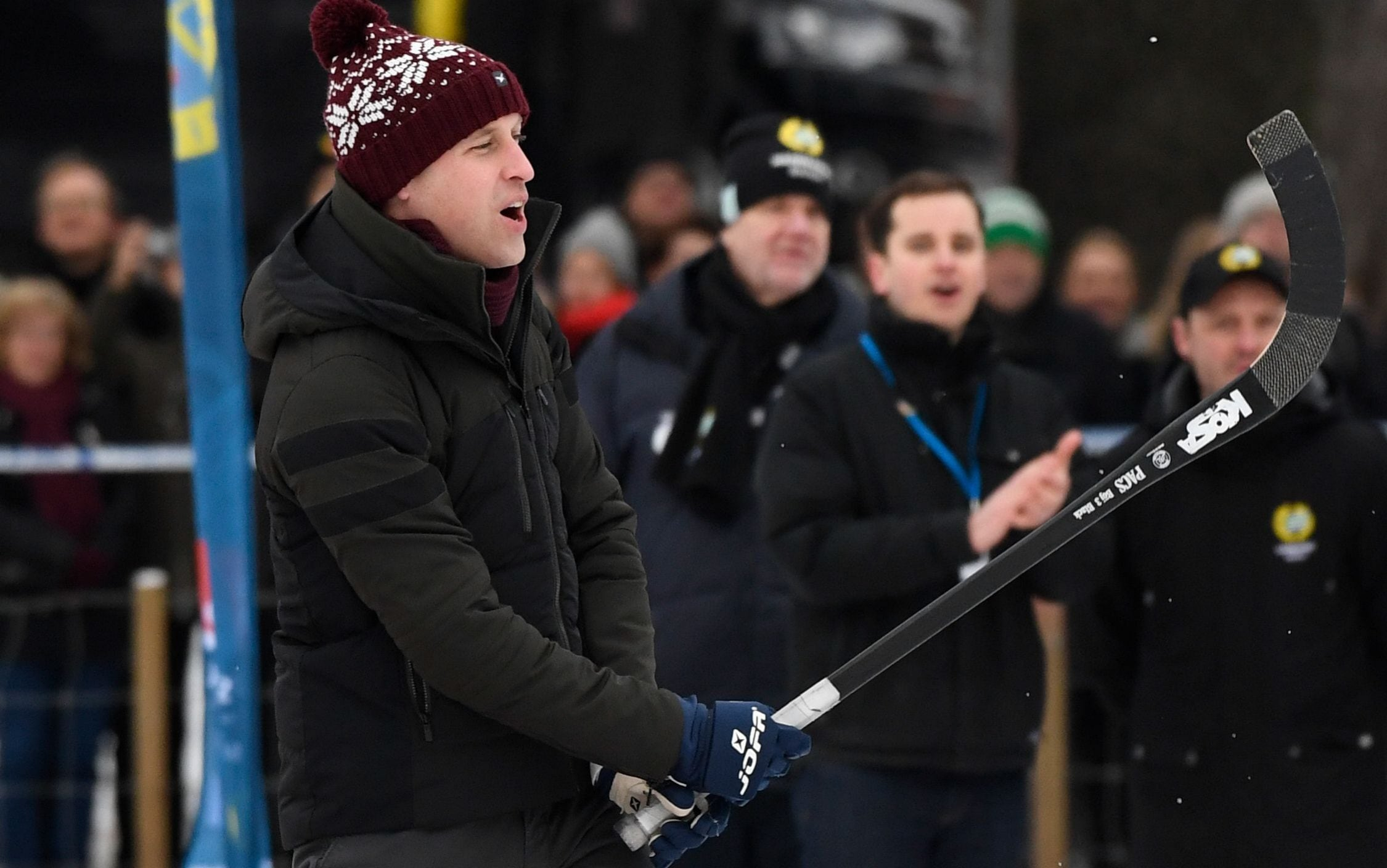 Prince William took the first shot - and eventually beat his wife in the shootout