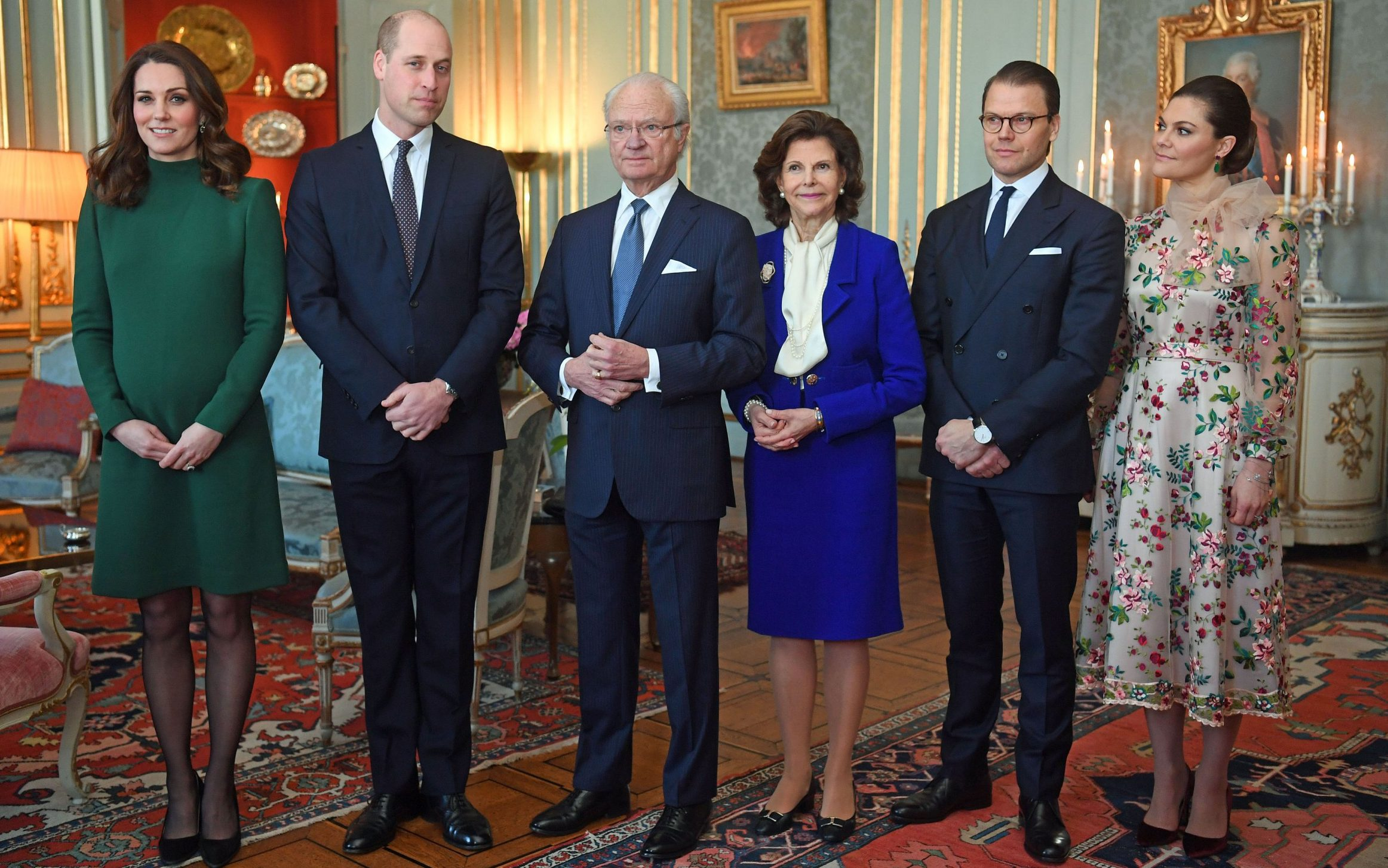 The Duke and Duchess of Cambridge are greeted by King Carl XVI Gustaf, Queen Silvia of Sweden, Prince Daniel and Victoria, Crown Princess of Sweden ahead of a lunch at the Royal Palace of Stockholm