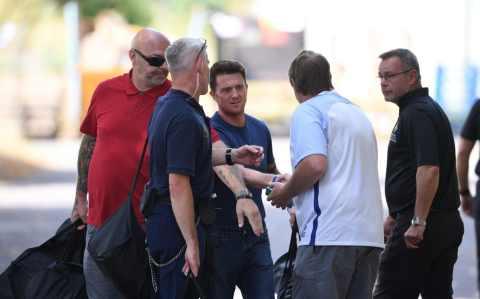 Former EDL leader Tommy Robinson pictured leaving prison after judges quash contempt ruling