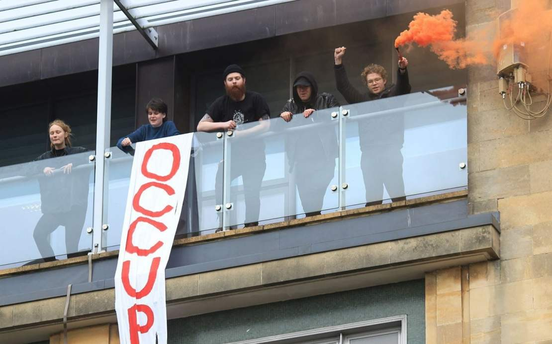 Mr Boardman-Pattinson, far right, has been arrested for protesting before.