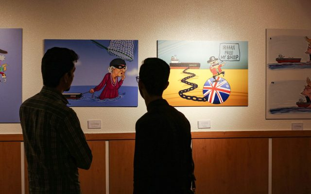 """Caricatures at Iran's """"Pirates of the Queen"""" exhibit mocks the UK over its seized tanker"""