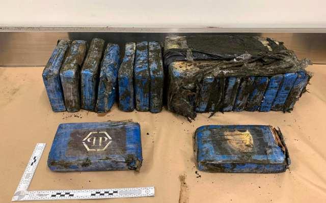 Wiele opakowań zawierających kokainę na wystawie po odkryciu ich przez policję na plaży Bethells w West Auckland