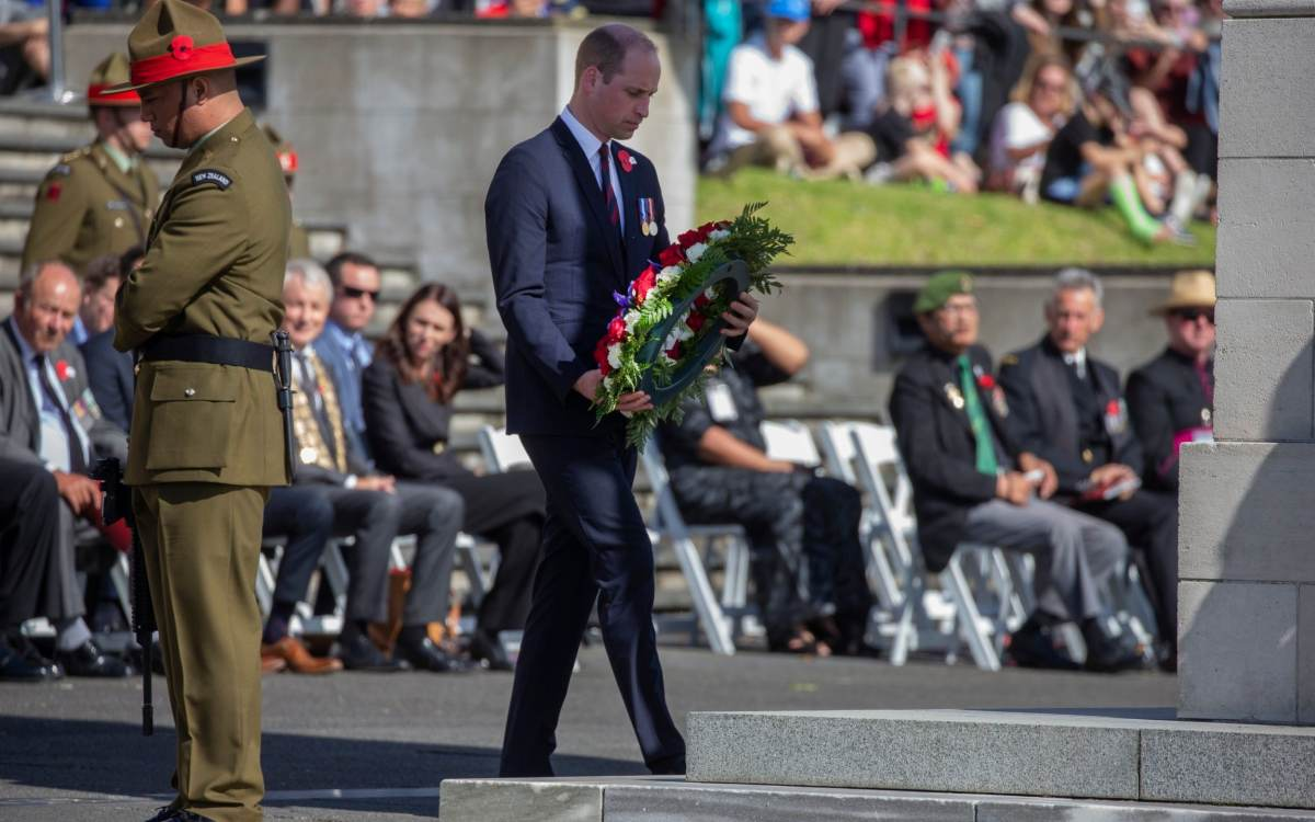 Prince William lays a wreath during an Anzac Day service in Auckland, New Zealand