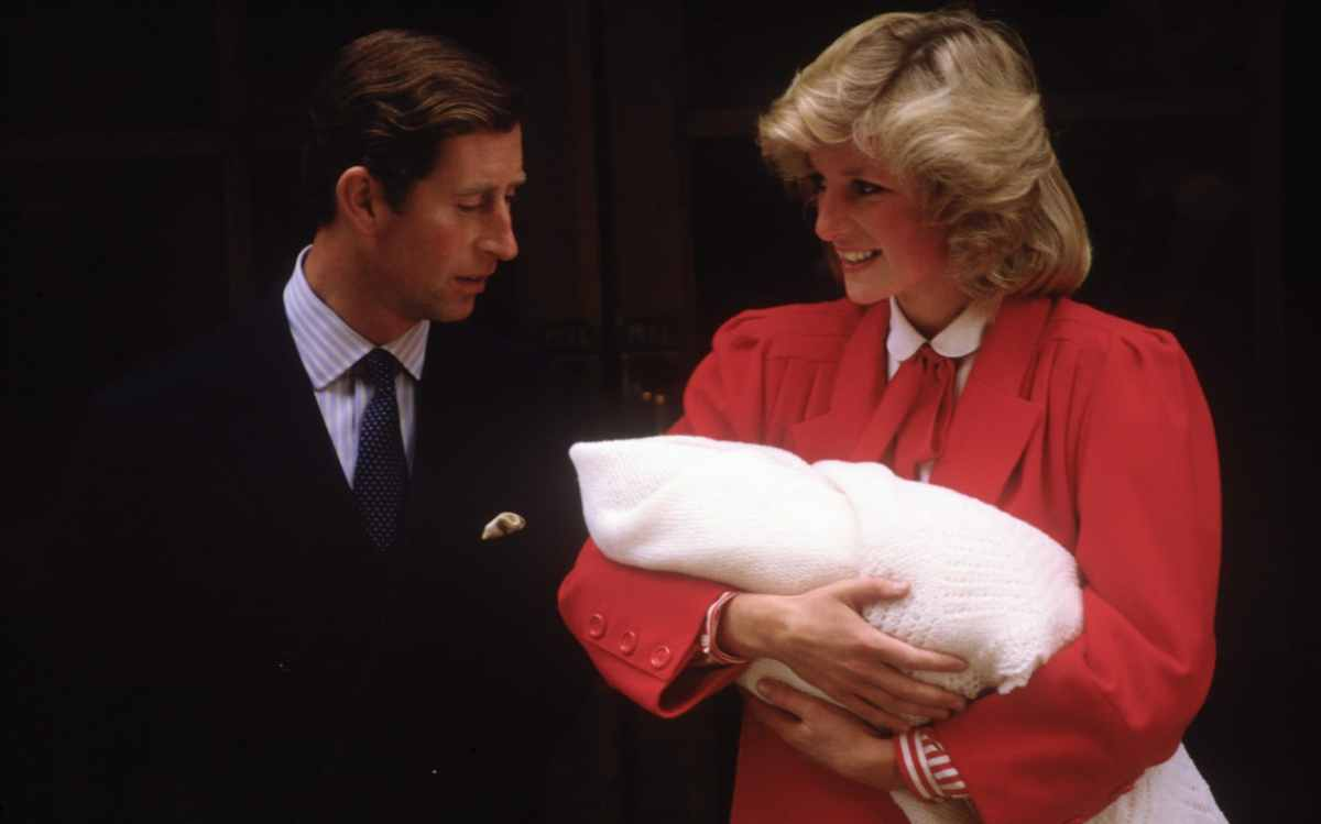 Diana Princess of Wales and Prince Charles with new born Prince Harry