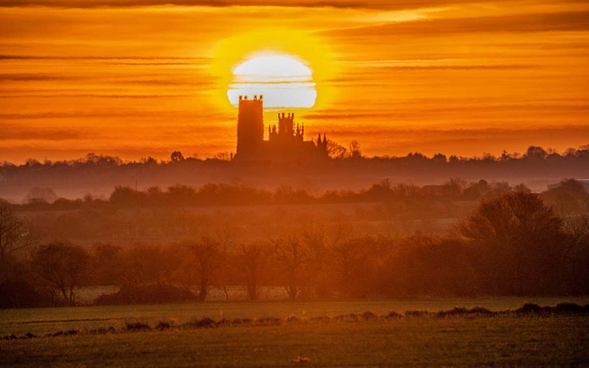 Sunrise over Ely Cathedral in Cambridgeshire on Tuesday morning