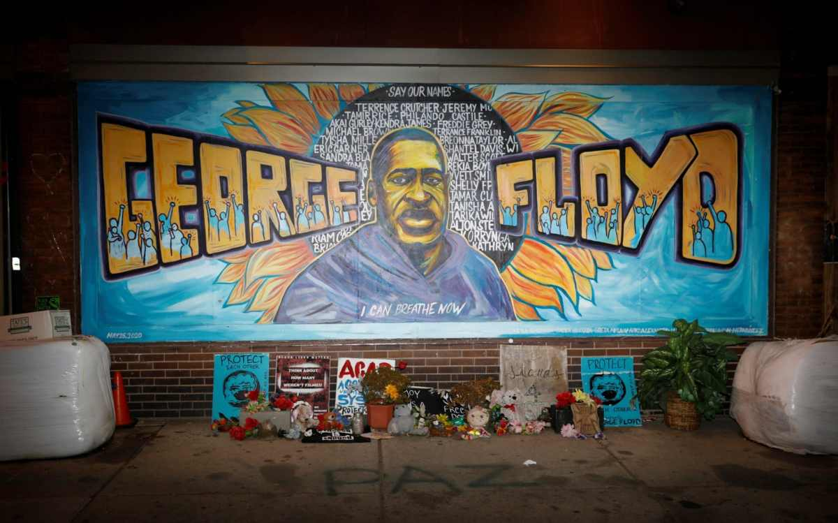 A view of the George Floyd mural at 38th Street and Chicago Avenue a day before opening statements in the trial of former police officer Derek Chauvin, in Minneapolis