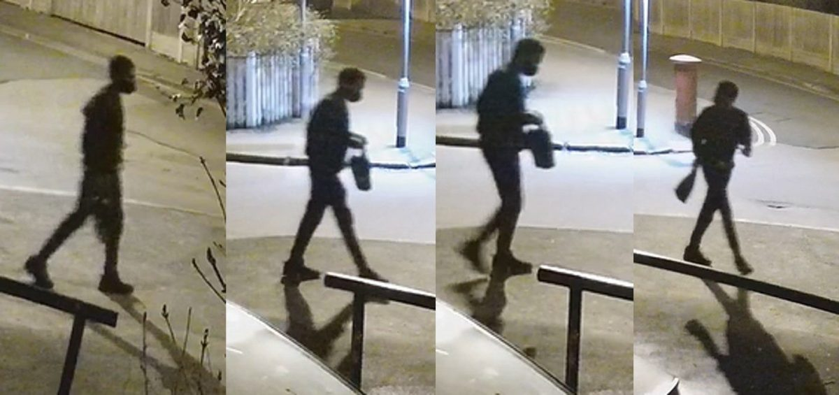 Composite screengrabs of CCTV footage issued by the Metropolitan Police of Richard Okorogheye in Loughton, in the Epping Forest district of Essex