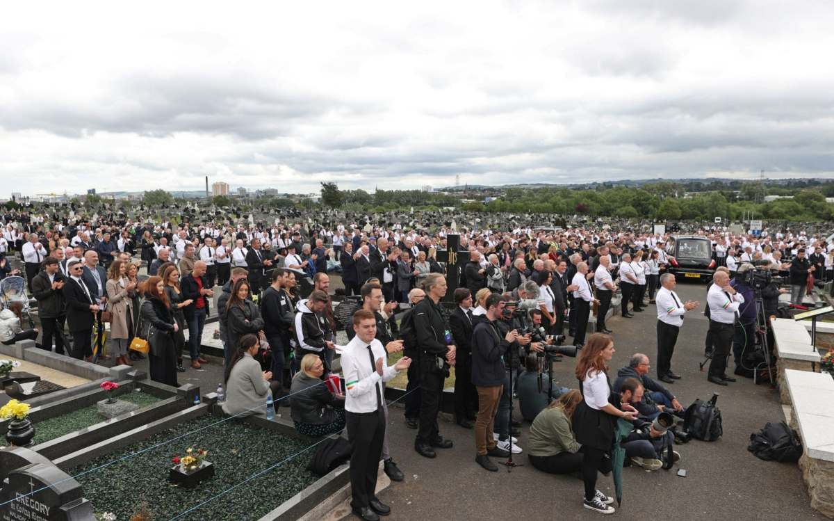 About 2,000 people took to the streets for the funeral of Bobby Storey despite Covid restrictions