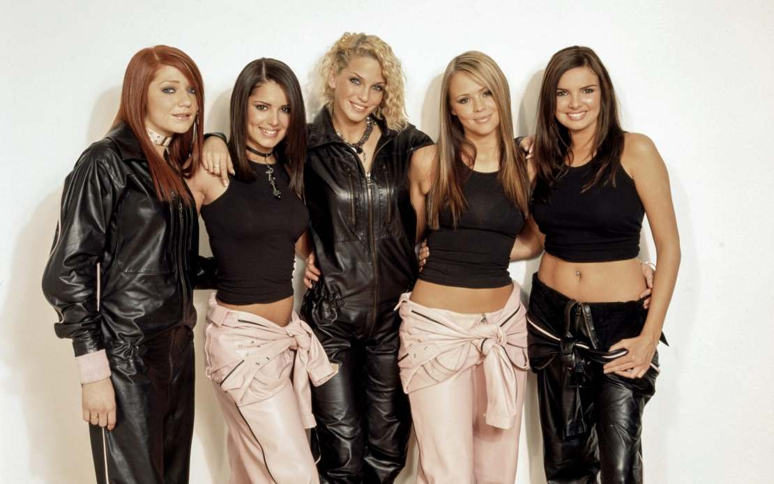 Girls Aloud in their early days, featuring Sarah Harding, centre