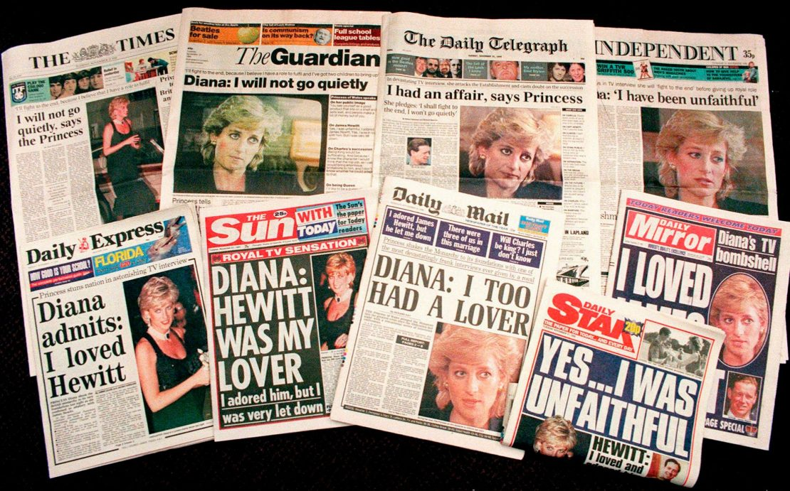 A selection of front pages of most of Britains's national newspapers showing their reaction to Princess Diana's television interview with BBC journalist Martin Bashir in 1995