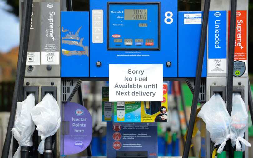 A petrol station in Hertford has put up signs stating they have ran out of fuel till next delivery