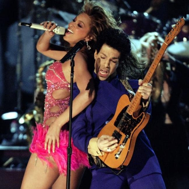 Prince performing with Beyonce at the Grammy Awards in 2004