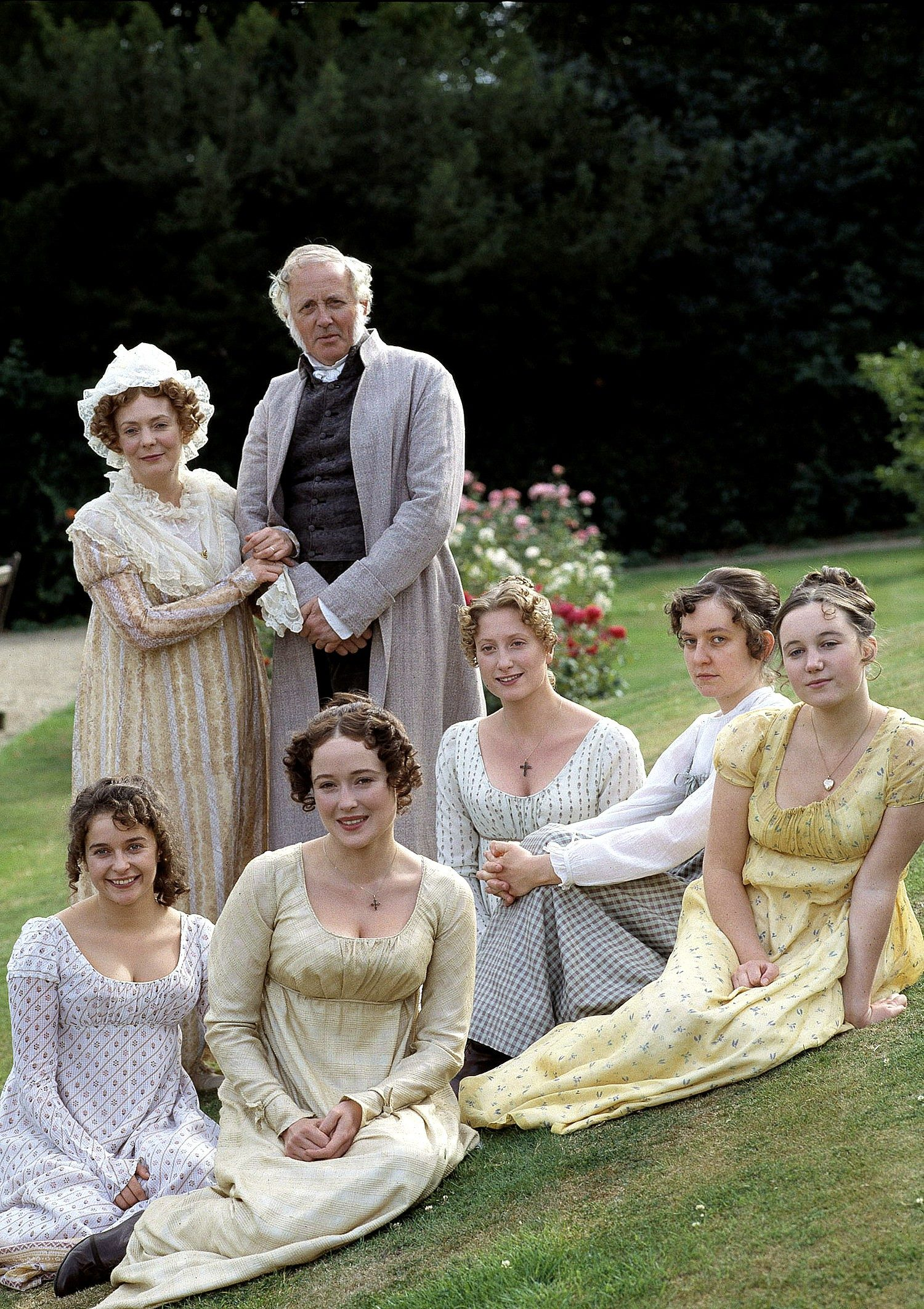 Whitrow as Mr Bennet with his family in Pride and Prejudice