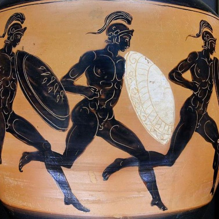 An ancient Greek vase depicting a scene from the 'Hoplitodromos' race in the Olympiad