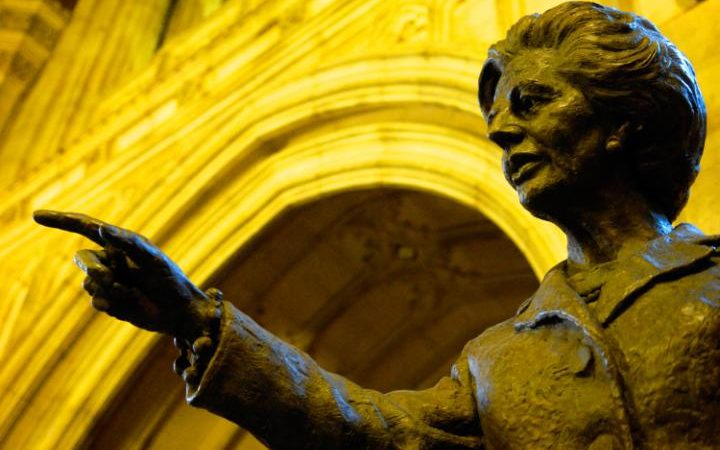 Lady Thatcher's statue in the Commons.