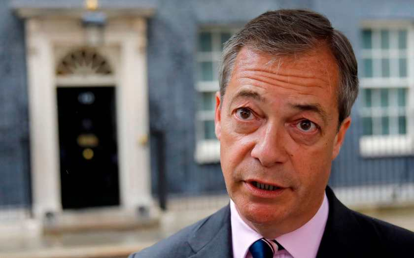 Brexit Party leader Nigel Farage after delivering a letter addressed to Britain's Prime Minister Theresa May