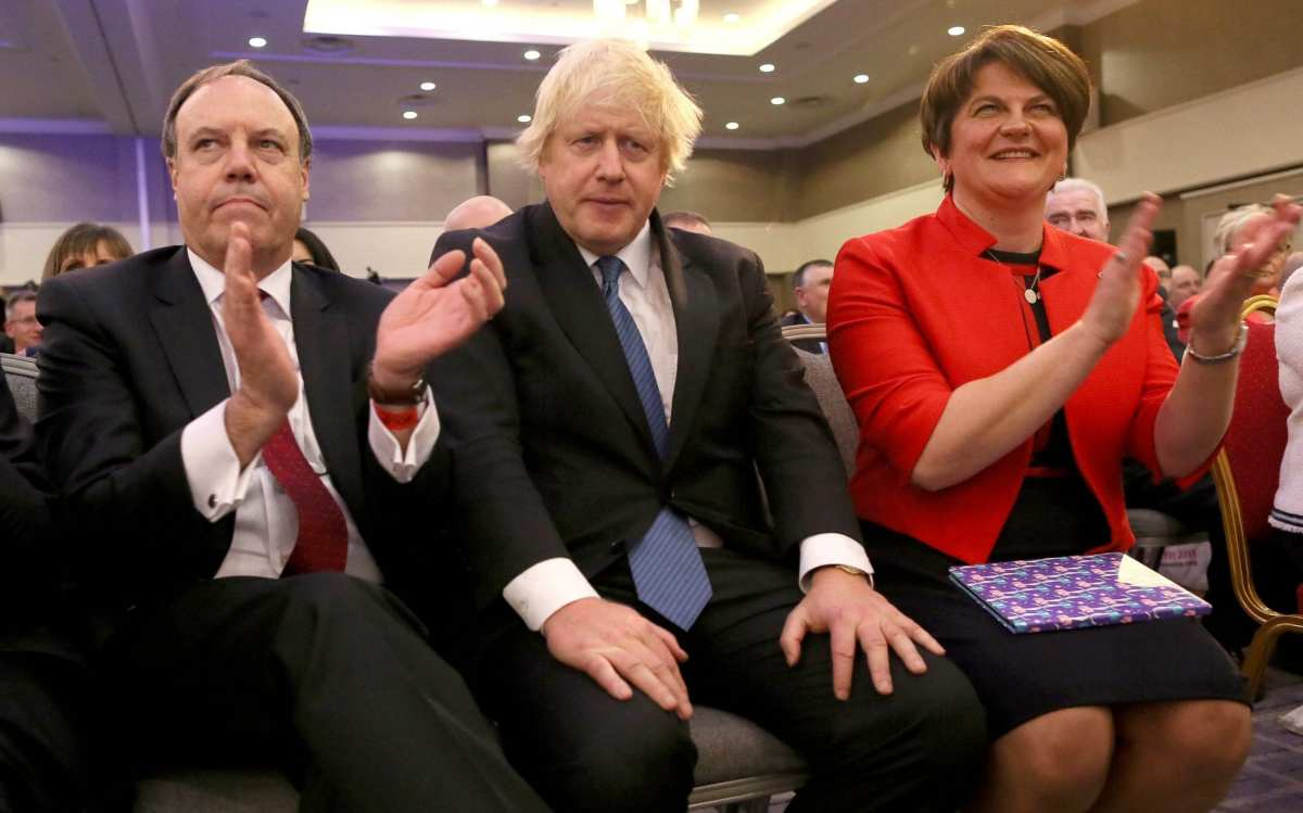 Lord Dodds with Boris Johnson and Arlene Foster at the DUP party conference in 2018