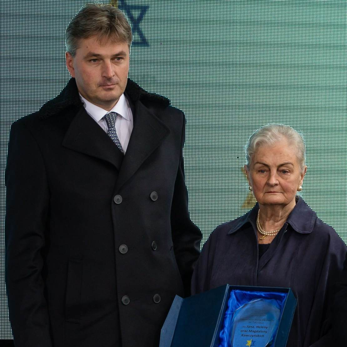 Daniel Kawczynski pictured with Krystyna Kawczynska during a 2017 ceremony honouring non-Jews who saved Jews during the Holocaust