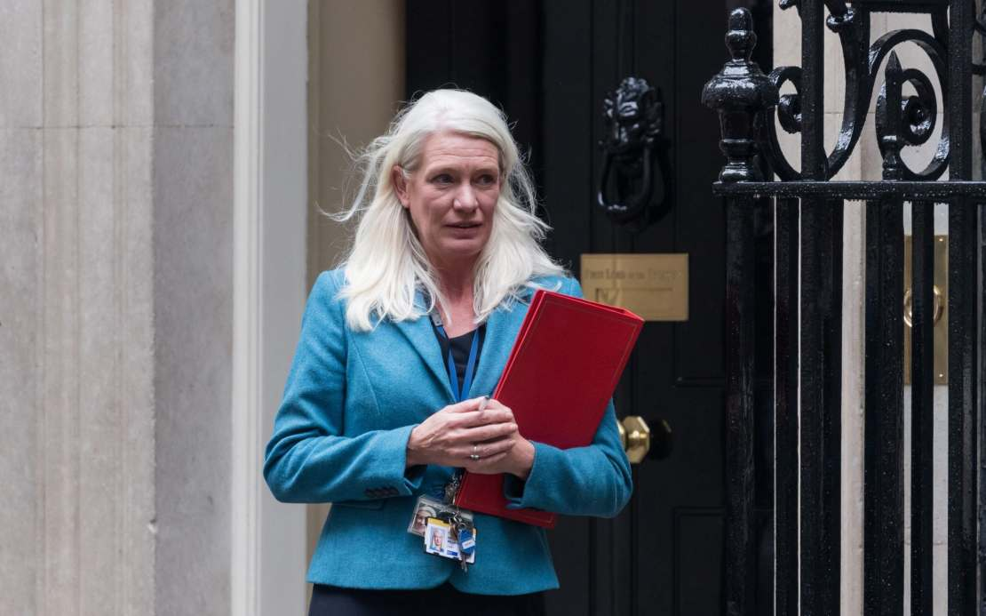 Conservative Party Chairman and Minister without Portfolio Amanda Milling leaves Downing Street