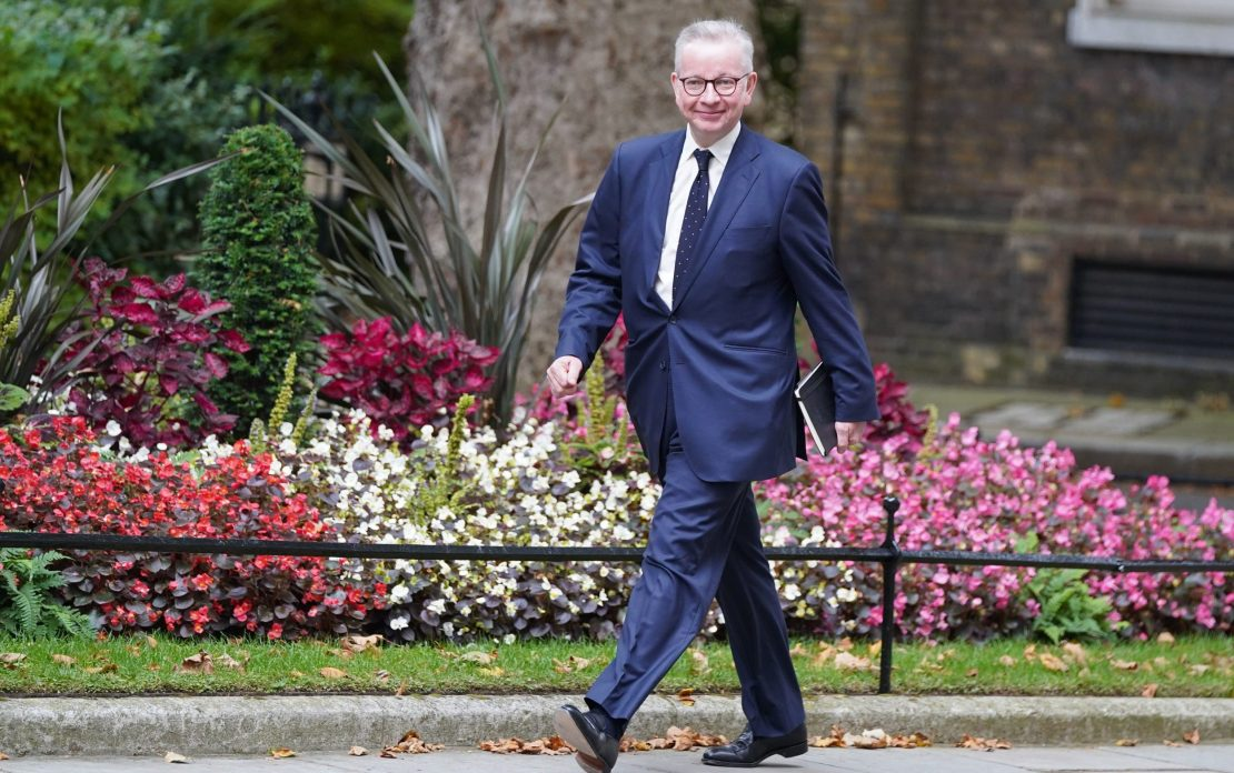 Michael Gove arrives in Downing Street, London