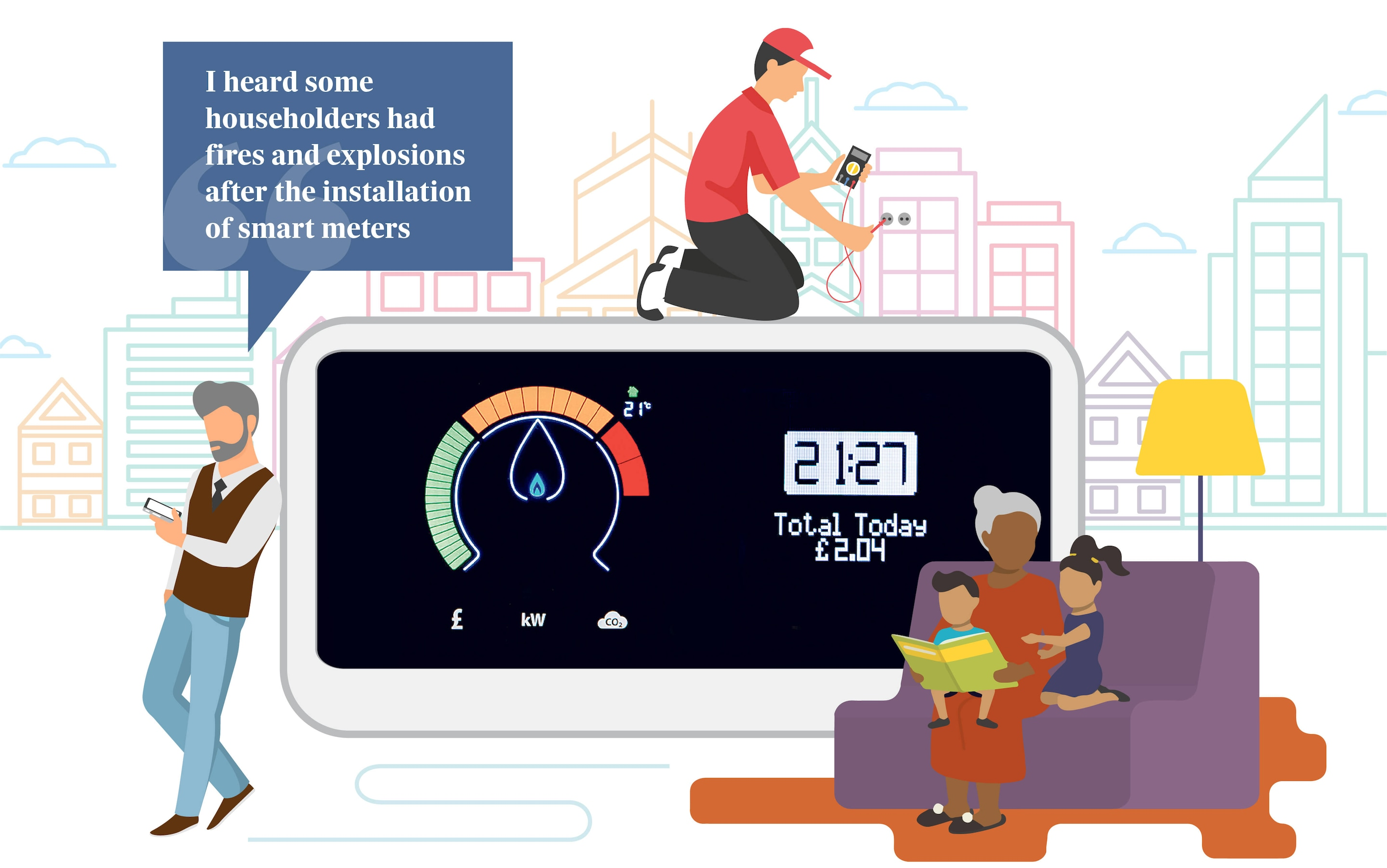are smart meters safe 2009 smart car fuse box diagram illustration of people using energy [ 2880 x 1803 Pixel ]