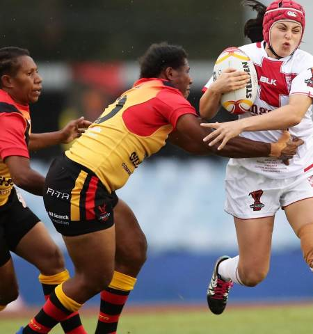 England's Emily Rudge in action against Papua New Guinea at the 2017 Women's Rugby League World Cup