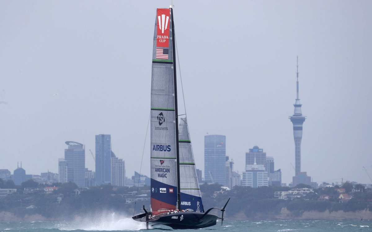 American Magic suffered damage when it capsized and failed to progress to the Prada Cup final