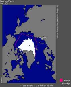 Arctic sea ice at its lowest in September 2012