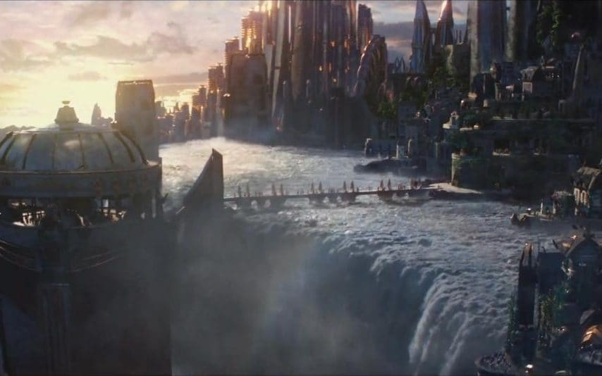 The Norse city of Asgard, from the film Thor